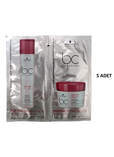 Bonacure Peptide Repair Kurtarma Şampuan 12Ml-Maske 12Ml 5 Adet Renksiz